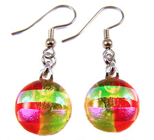 """DICHROIC Glass EARRINGS Orange Green Pink Dangle Surgical Striped 1/2"""" 15mm"""