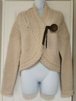 Womens Nicole Farhi Oatmeal Cable Knit Wooden Button Wool Alpaca Cardigan M Vgc.