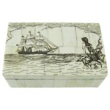 Fake Reproduction Scrimshaw Art Bone Mermaid Nautical Jewelry Box Treasure Chest