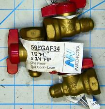 """INLINE GAS PIPE BALL VALVE 1/2"""" FLARE FEMALE FIP 3/4 Cock Lever Propane Natural"""