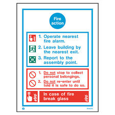 Jalite White Rigid PVC Fire Action Safety Notice - In case of fire Safety Sign