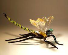 "Blown Glass ""Murano"" Figurine Gorgeous Peach & Clear DRAGONFLY"