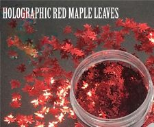 USA MAPLE LEAF Shape HOLOGRAPHIC RED Nail Art Face Festival Crafts 🍁