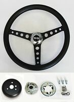 "1964-1966 Nova Impala Black on Black Steering Wheel Kit 14 1/2"" SS Center Cap"