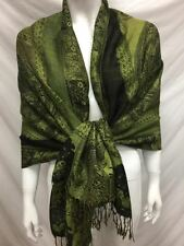 2PLY THICK PASHMINA CASHMERE PAISLEY GREEN WRAP SCARF STOLE