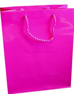 10 x Gloss Laminate Medium Gift Bag - A5 Hot Pink