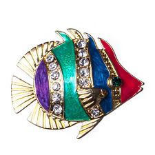 New Unusual Gold Tone Enamel Crystal Discus Fish Brooch in Gift Box