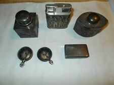 ANTIQUE STERLING SILVER SNUFF BOXES,SALT & PEPPER BOWL'S,BOX AND LIGHTER