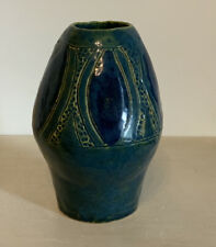 Studio Pottery Handmade & Painted Vase -Blue & Green- Chunky-14.5cm Tall- Signed