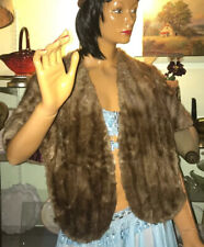 Vtg 1950-60's? Baird Hershey Furs Genuine Mink Stole Striped Light Brown Wedding