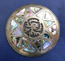 Mexico Artisan Signed Sterling Abalone Shell Inlay Handmade Vintage Pin/Pendant