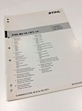 Stihl Motosega MS 170, MS 170 C Workshop Ricambi Parts List 0452 207 1323