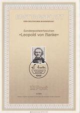TIMBRE FDC ALLEMAGNE BERLIN OBL ERSTTAGSBLATT LEOPOLD VON RANKE 1986