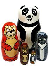 "Panda Bear And Asian Animals 5 Pc 4"" Russian Babushka Stacking Toy Nesting Doll"