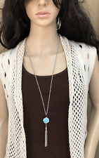 Women's Fashion stainless steel chain Sweater chain necklace w turquois tassel