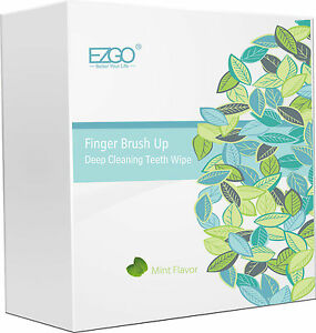 EZGO 100pc Mint flavor Deep Cleaning Teeth Wipes Finger Oral  Brush Up On The GO