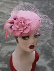 T239 Pink Ladies Feather Veil Felt Wool Fascinator Cocktail Kentucky Derby Hat