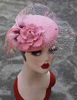 T239 Pink Ladies Feather Veil Felt Wool Fascinator Cocktail Kentucky Derby Hat