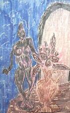 Vintage Fauvist Still Life Pastel Painting Nude Woman Statuette Vase Flowers