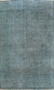 Traditional Semi Antique Overdyed Distressed Area Rug Oriental Hand-knotted 7x10