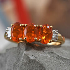 """AAA Jalisco Fire Opal & Diamond 925 Sterling Silver """"Trilogy Band"""" Ring."""