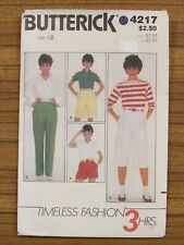 BUTTERICK PATTERN - 4217 LADIES PANTS SHORTS PEDAL PUSHER 3/4 PLEAT SIZE 12 USED