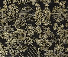 Timeless Treasures Geisha Scenic Toile Metallic 100% cotton fabric by the yard