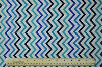 1/2 yard cotton quilt fabric Mini Chic Chevron navy teal blue aqua white sewing
