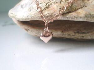 Rose Gold Heart Charm Anklet, Rose Gold Filled Figaro Chain Ankle Bracelet