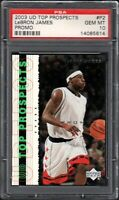 2003 Upper Deck Top Prospects #P2 LEBRON JAMES Promo PSA 10 Gem Mint