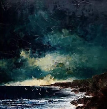 YA765 HAND-PAINTED CANVAS LANDSCAPE OIL PAINTING SEASCAPE UNFRAMED 24IN
