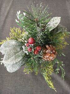 """Threshold 9"""" Christmas Holiday Winter Floral Arrangement Artificial New"""