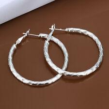 925 Sterling Silver Hoop Pierced Earrings L3