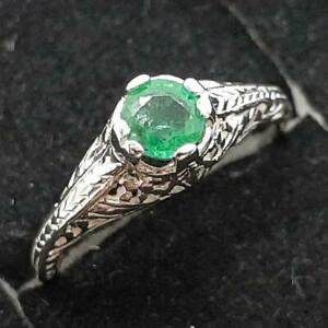 Antique Filigree .45ctw Colombian Emerald 925 Sterling Silver Ring Size 4.75