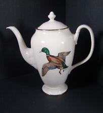Vintage Delano Studios Tall Teapot Dennis Puleston Mallard Duck.Gold Trim
