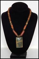 "Handmade Jasper Pendant Bauxite Bead and Antique Glass Necklace, Brass 19"" long"