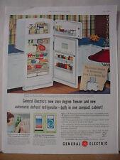 1953 GE General Electric Refrigerator Zero Degree Freezer Vintage Print Ad 10452