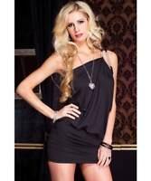 Music Legs Clubwear Dancer Faux Rhinestone One Shoulder Draped Mini Dress, Black