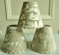 LOVELY FRENCH CANDLE LAMPSHADE TOILE DE JOUY MOTIF 11 x 13 cm / 4.3 x 5.1 ins