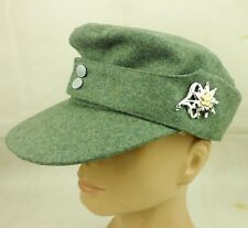 WWII German Mountain Division Cap M43 Hat & German Edelweiss Cap Badge XL-140