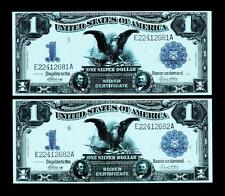 2 CONSECUTIVE 1899 $1 BLACK EAGLE SILVER CERTIFICATE~~ UNCIRCULATED~HIGH GRADE