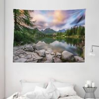 Nature Tapestry Lake by Forest Mountain Print Wall Hanging Decor 80Wx60L Inches