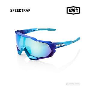 100% SPEEDTRAP Cycling UV Sunglasses MAT METALLIC INTO THE FADE/BLU TOPAZ MIRROR