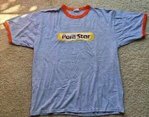 Vintage 90s Porn Star Skateboarding Logo Tee Shirt L or XL Made in USA