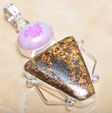 "Handmade Natural Bronzite Jasper 925 Sterling Silver Pendant 2.25"" #P08607"