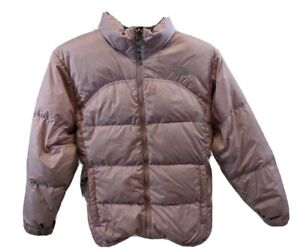 THE NORTH FACE GIRLS PINK SIZE L DOWN FEATHERS NYLON COAT JACKET PUFFER WINTER