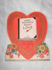 Vintage Antique Valentine's Day Card Fold Out Book Of Love Heart