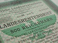 German National Pension Bank (Berlin) Loan - 500RM - 1939 - Nazi, Swastika, WW2