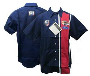 New Ford Racing American Spirit Mens Sizes XS-S-M Button Up Blue Racing Shirt