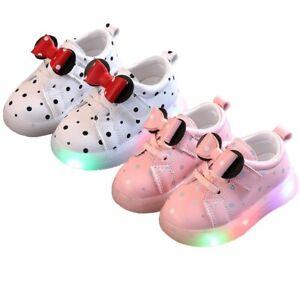 Mädchen LED beleuchtet Sport Sneaker Blinkschuhe Turnschuhe Bowknot Laufschuhe